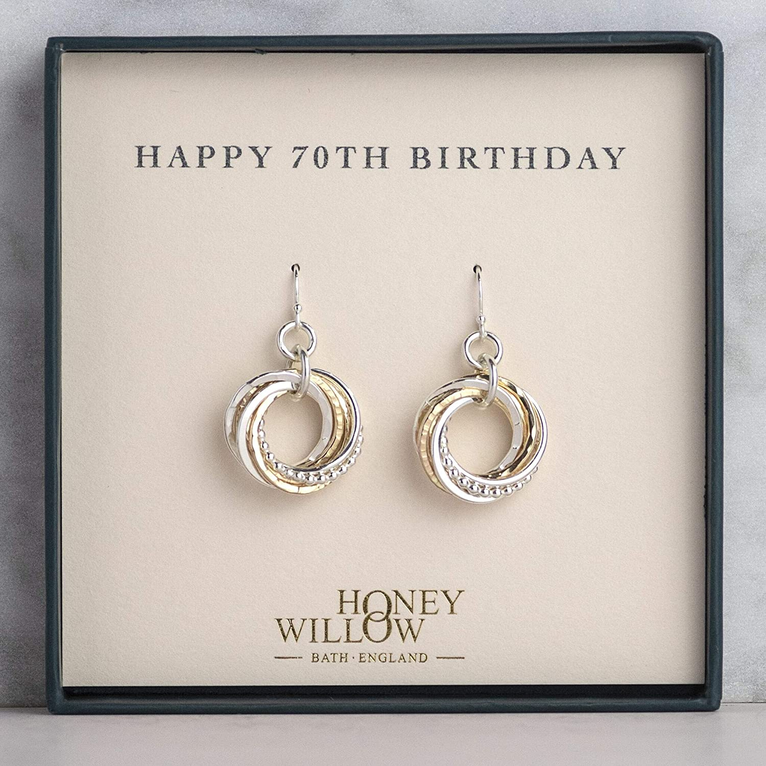 Dainty 70th Birthday Gold and Silver Earrings with Gift Note