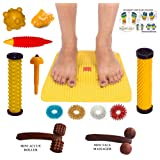 Super India Store Acupressure Mat with (Magnets-Pyramids) for Pain Relief n Total Health + 2 Wooden Face Massagers + Health Products
