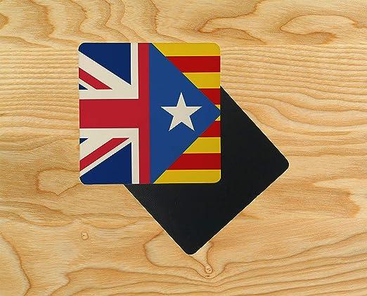 Posavasos de madera con diseño de la bandera de España catalana del Reino Unido, 95 x 95 mm, madera, multicolor, Pack de 2: Amazon.es: Hogar