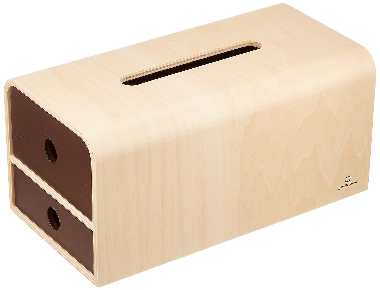 ヤマト工芸 小物入れ付きティッシュケース 「STOCK tissue」 ブラウン YK14-108 B018X7RGNKブラウン