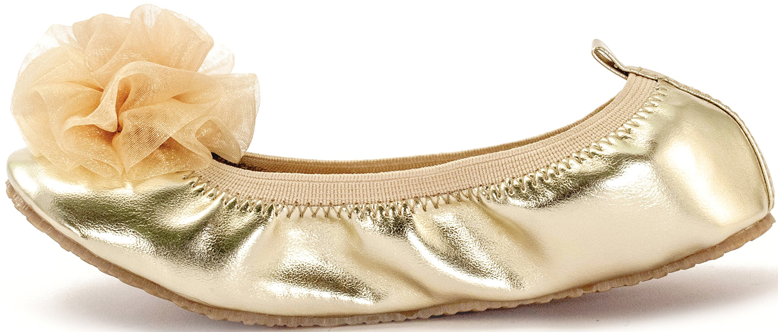 Subibaja Girls' Gala Luxury Slip-on Flat (30, Gold)