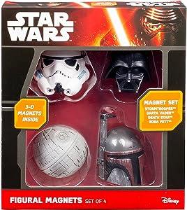 Star Wars 3D Magnets - Set of 4, including Darth Vader, Boba Fett, and Death Star