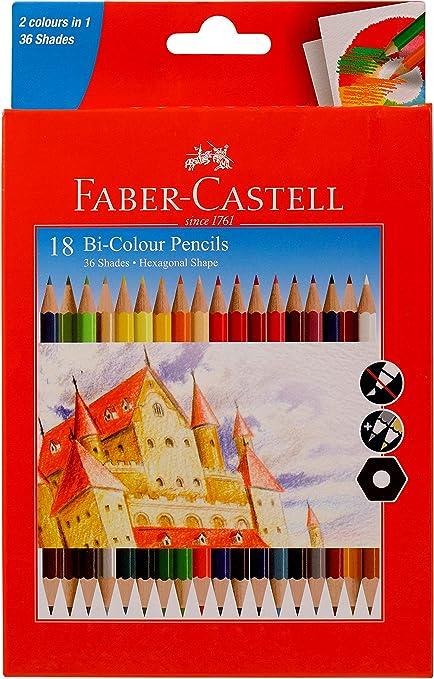 Faber-Castell Bi-Colour Pencil, Pack of 18 (Assorted): Amazon.es ...