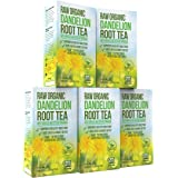Organic Dandelion Root Tea Detox - Raw Vitamin Rich Digestive - 5 Pack (100 Bags, 2g Each) - Helps Improve Digestion and Immune System - Anti-inflammatory and Antioxidant - By Kiss Me Organics