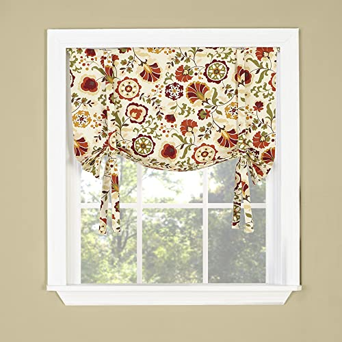 Twill Birch Daphne Twill Birch Tie Up Drape Shade Valance, 33 X 29 , Crimson