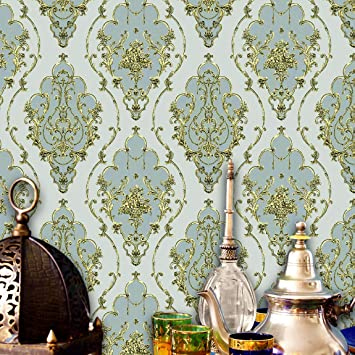 Jz22 Luxury Damask Wallpaper Rolls Whitecream Colorsilver