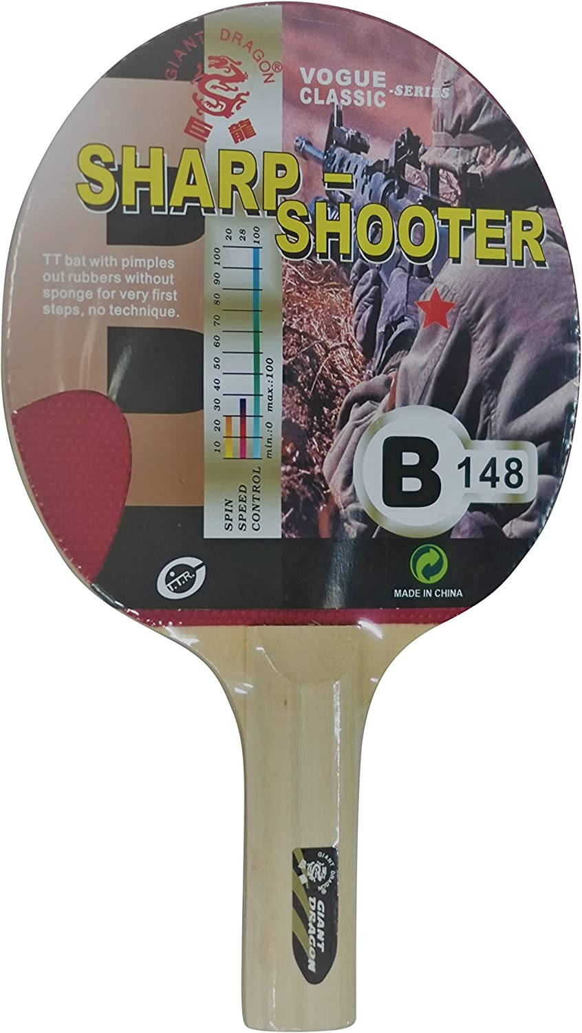 Kounga Dragon Sharp Shooter Pala de Ping Pong, Unisex Adulto