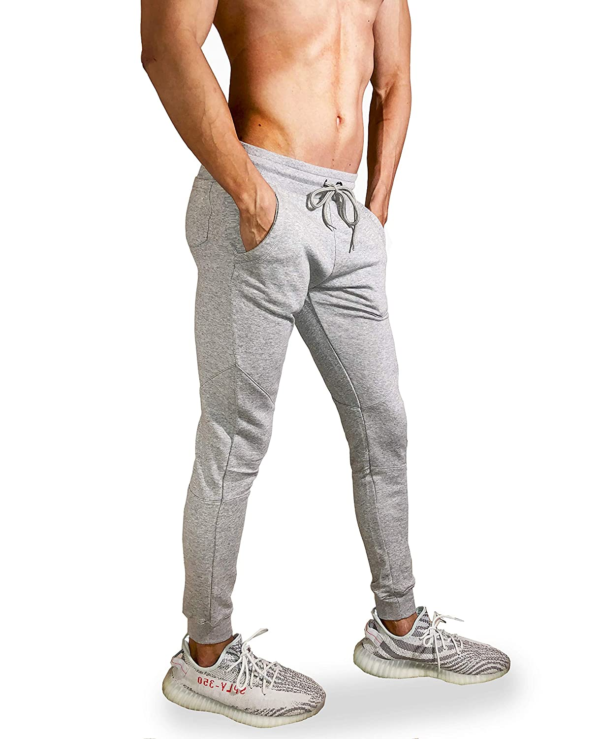 Flexlete Men's Slim Fit Joggers French Terry Sweatpants Track Fitted Active Sports Running Gym Workout Pants With Pockets by Flexlete