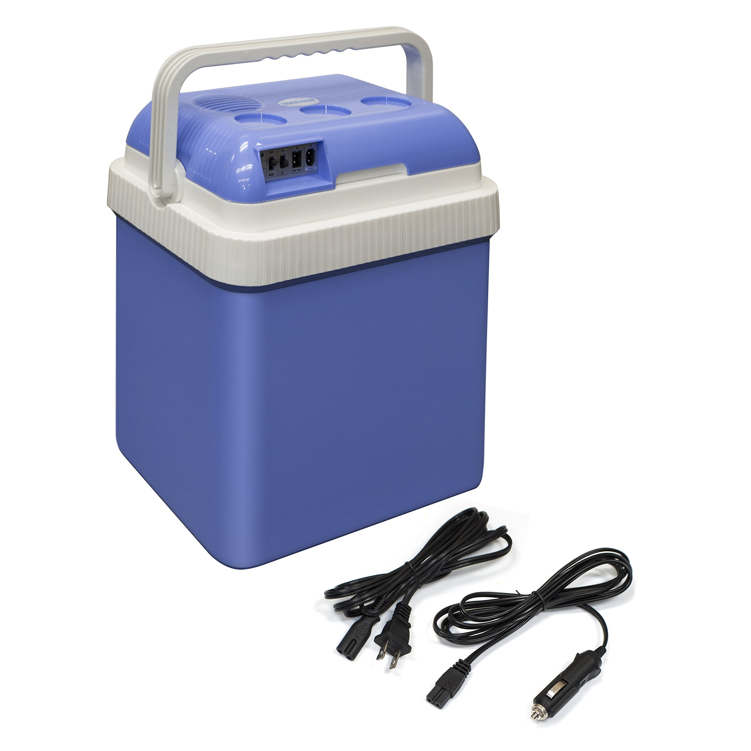 ALEKO CARFR24BL Portable Electric Cooler and Warmer Car Refrigerator Travel AC DC Power 24 Liter Capacity Light Blue