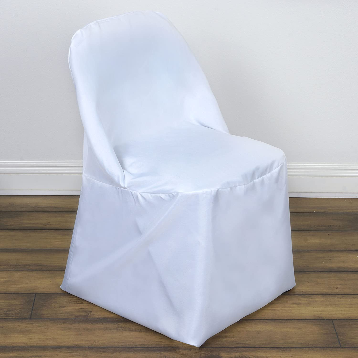 Amazon.com: BalsaCircle 50 pcs White Folding Round Polyester Chair ...