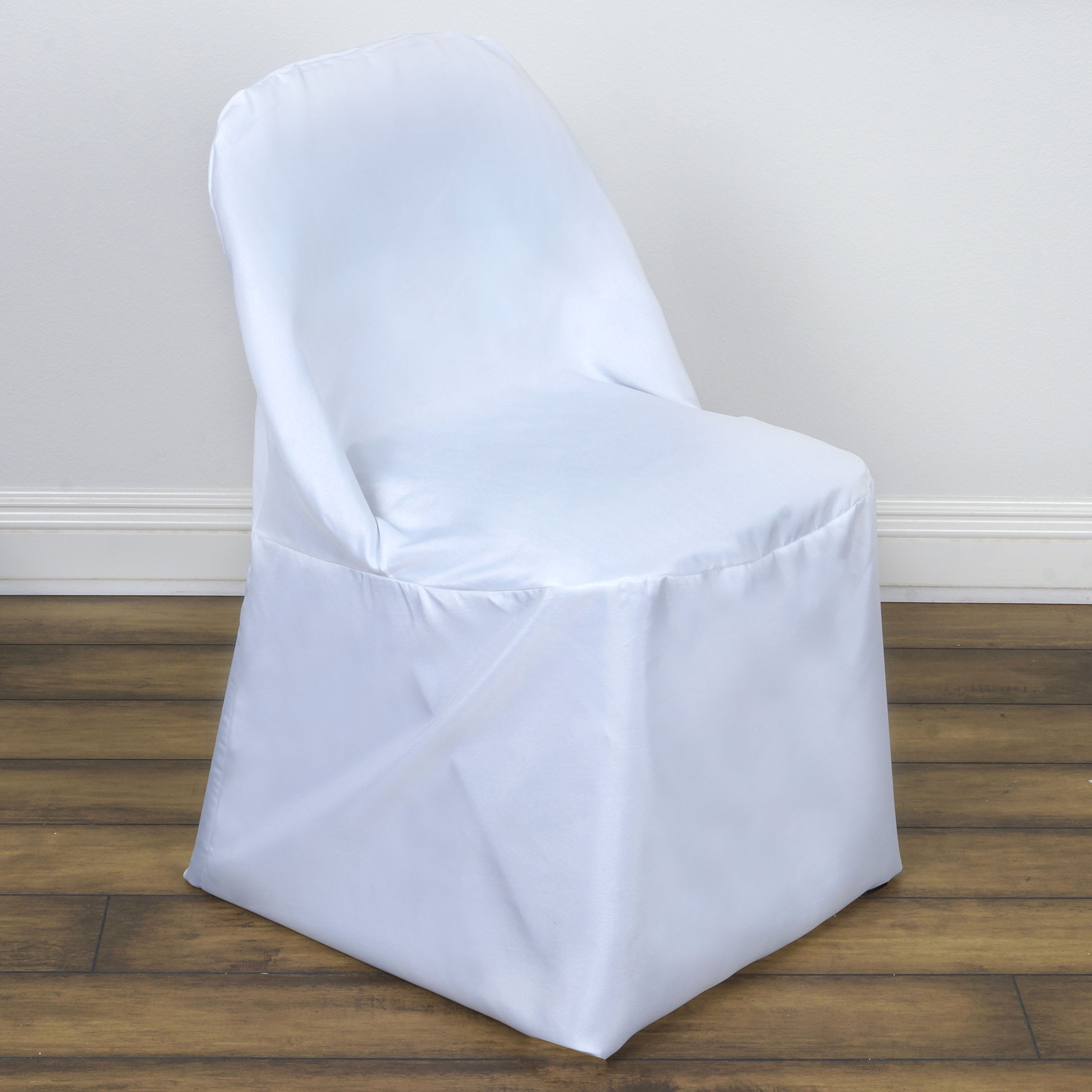 BalsaCircle 50 pcs White Folding Round Polyester Chair Covers Slipcovers for Wedding Party Reception Decorations