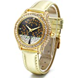 Time100 Orologio da Donna Cinturino in Pelle Movimento al Quarzo Simple e Moda Buono Regalo per Natale#W80115L
