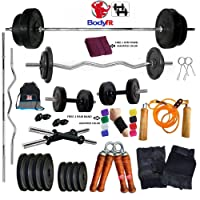 Bodyfit 30Kg Weight Plates Home Gym Fitness Package 4 Rods,Gym Bag,Gym Accessories.