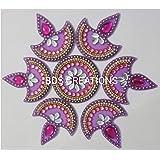 BDS CREATIONS 011 Multi Small Diya Handcrafted Decorative Diwali Rangoli Kundan Decoration/Floor Decoration - 7 Piece Set