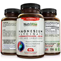 Magnesium Glycinate 400mg - 100% Pure. No-Laxative-Effect. Maximum Absorption, Fully Reacted & Not Buffered. Powerful Anxiety, Stress & Sleep Relief Support. Best Supplement for Headaches & Leg Cramps