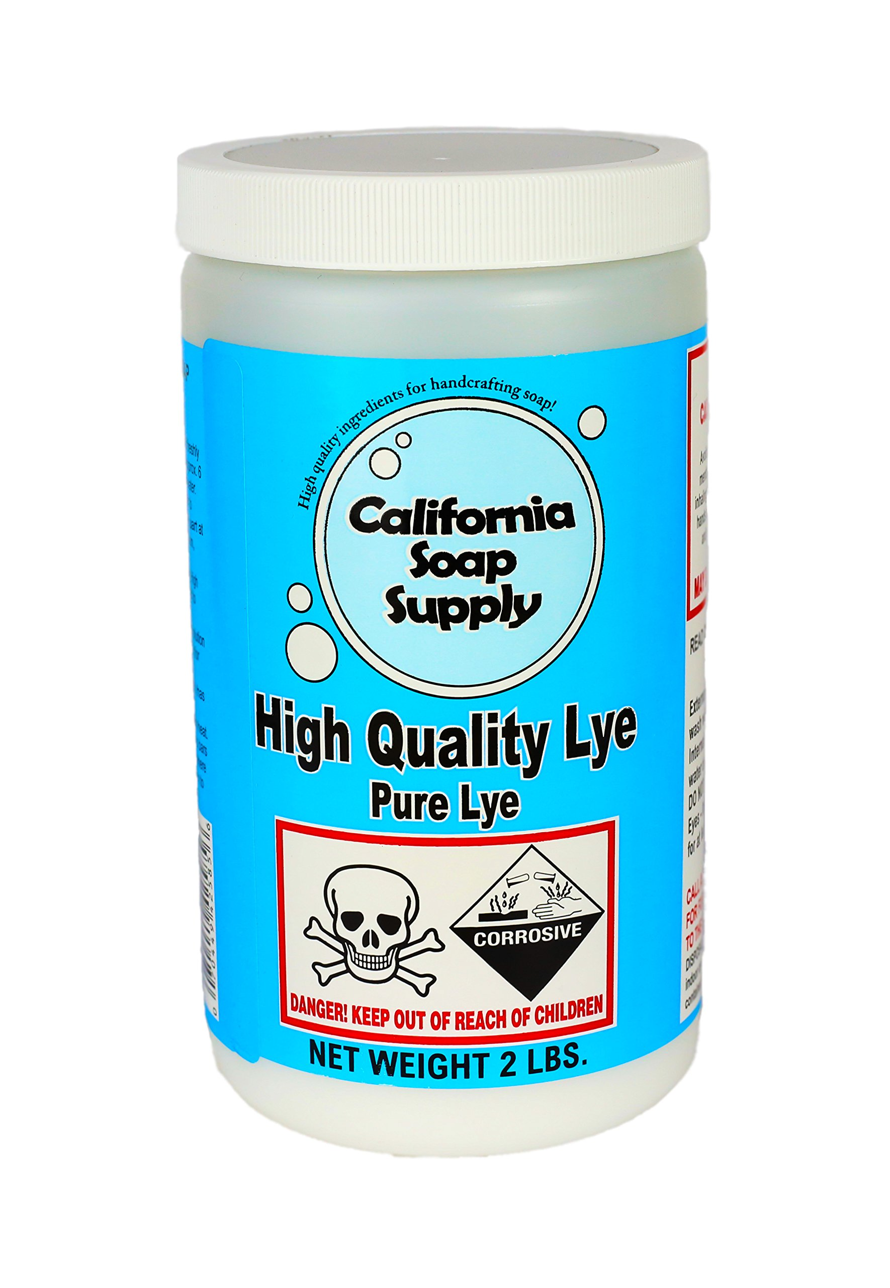 Pure Soap Making LYE, Sodium Hydroxide, 2LBS, Great for soapmaking, drain cleaning by California Soap Supply by California Soap Supply