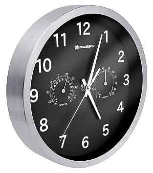 Bresser MyTime - Reloj de Pared Termo-/ Higro- 25cm, Color Negro