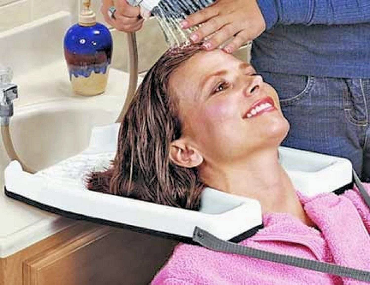 Safety Contoured portable salon home Shampoo hair washing sink tub tray Medical