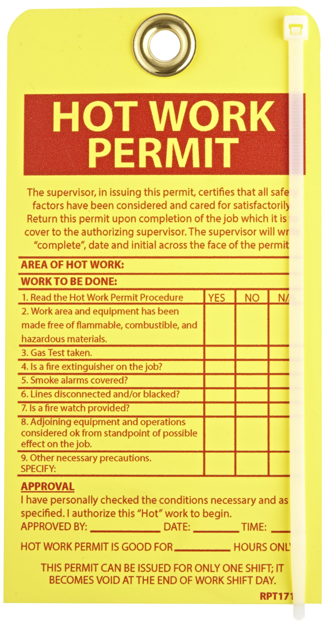 NMC RPT171G''HOT WORK PERMIT'' Accident Prevention Tag with Brass Grommet, Unrippable Vinyl, 4'' Length, 7-1/2'' Height, Red on Yellow (Pack of 10)