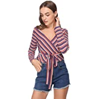 HUA XI YA Womens Warp V Neck Long Sleeve Belted Waist Knitted Striped Blouse Top