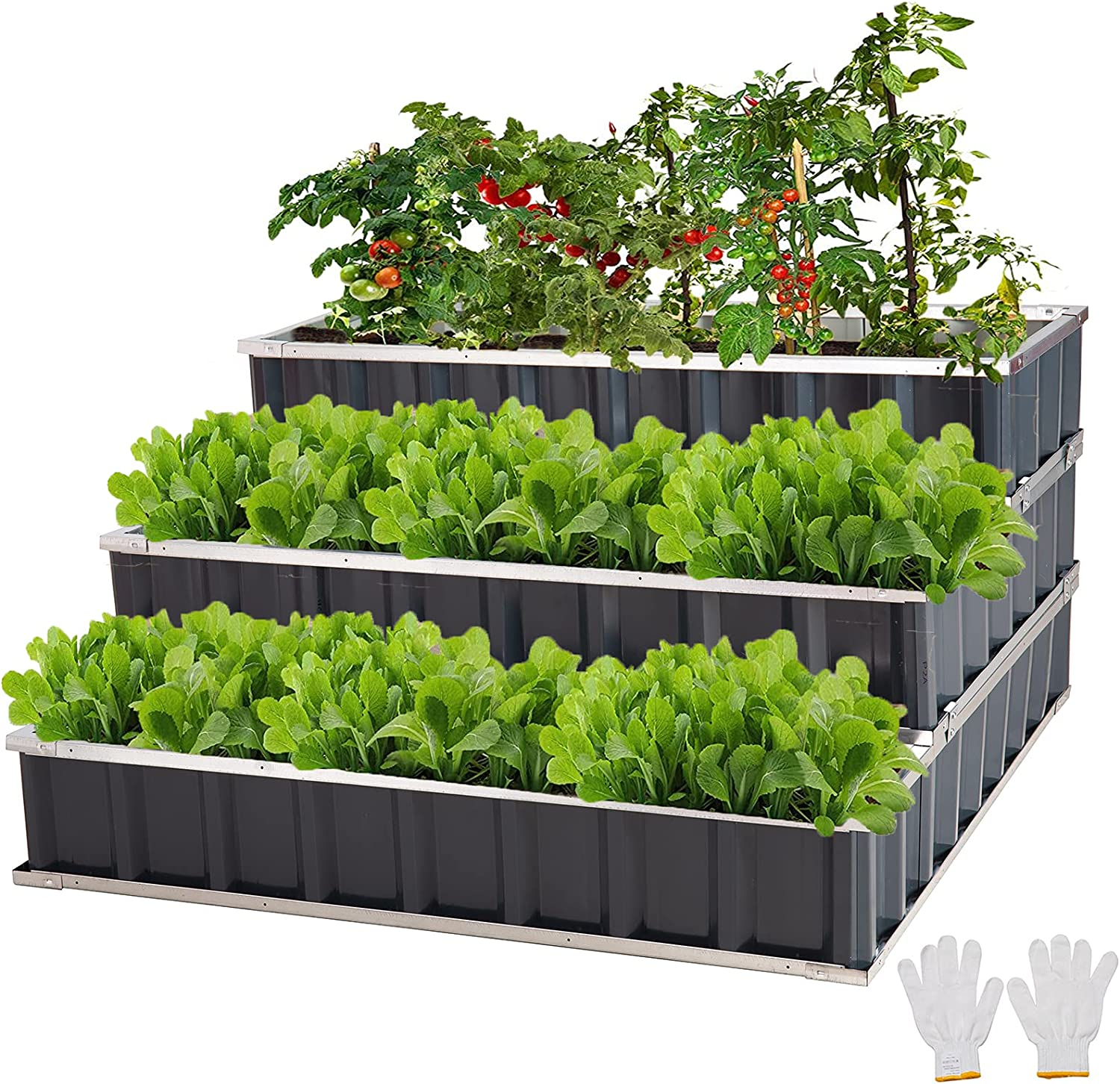 FORTUNO 3 Tier Raised Garden Bed Metal Elevated Planting Box Kit 46.5x46.5x23.6 Inch Outdoor Patio Steel Planter for Vegetables, Flowers, Herbs, Black