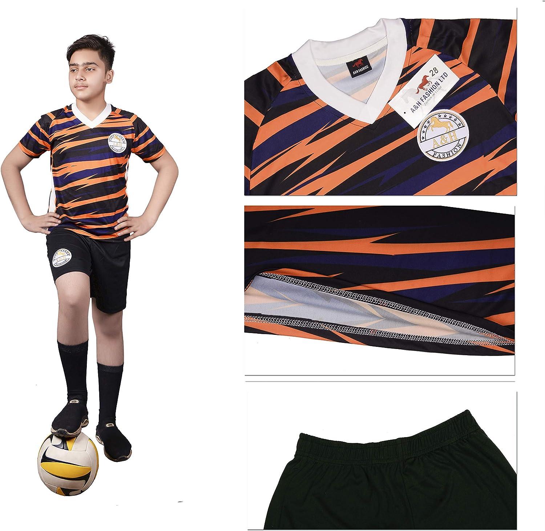 A/&H Fashion Boys Kids Zigzag Print Football Soccer Jersey Kit T-Shirt Short 2 Pc Set New