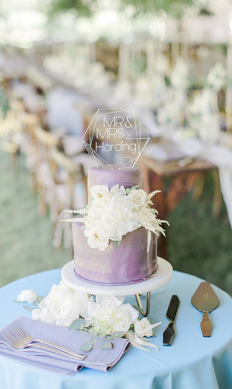Geometric Wedding Cake Topper Clear Acrylic Personalized Names Mr /& Mrs Cake Topper Modern Geometric Wedding