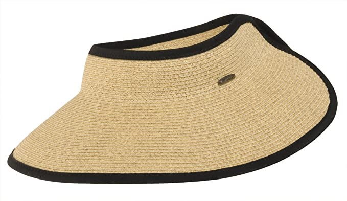 7840d7dda8d5d Amazon.com  Karen Keith Paper Braid Wide Brim Roll Up Sun Visor Hat -  Wheat  Clothing