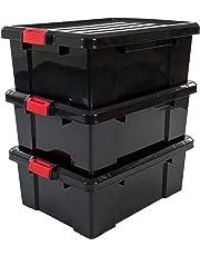 Iris Ohyama, set - 3 boîtes de rangement avec fermeture clic  - Power Box