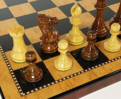 "Black RUSSIAN 3 1//2/"" Staunton Wood Chess Set Gloss Walnut /& Maple Color Board 18"