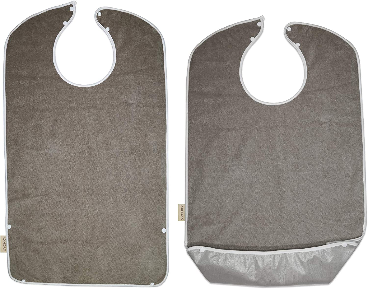 Adult Bibs for Eating Men Women Washable with Crumb Catcher, Soft Cotton Reusable and Waterproof