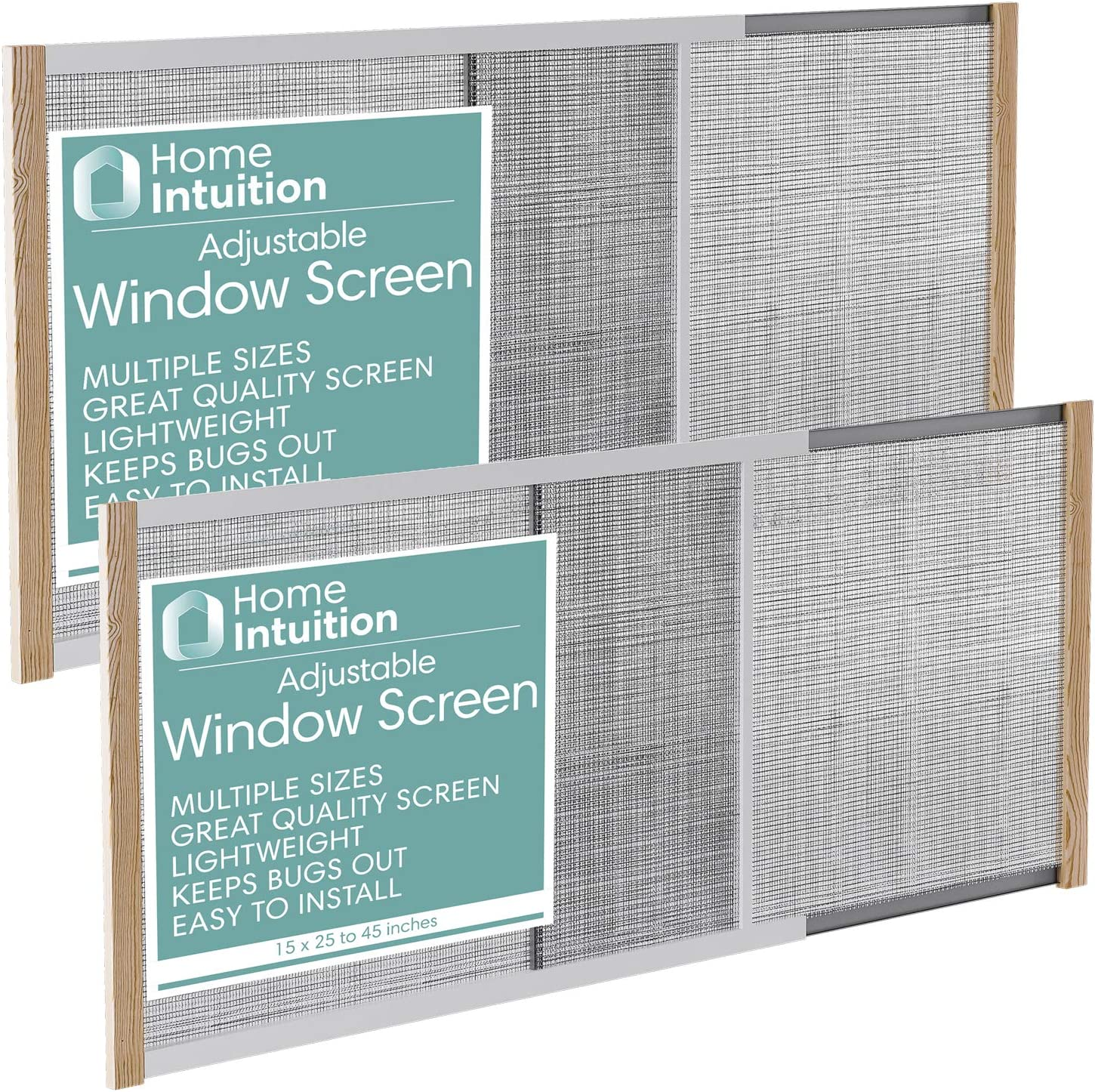 Home Intuition 2-Pack Adjustable Horizontal Window Screen 25-45 inches Wide, 15 Inches High
