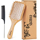 Hair Brush-Natural Wooden Bamboo Brush and Detangle Tail Comb Instead of Brush Cleaner Tool, Eco Friendly Paddle Hairbrush fo