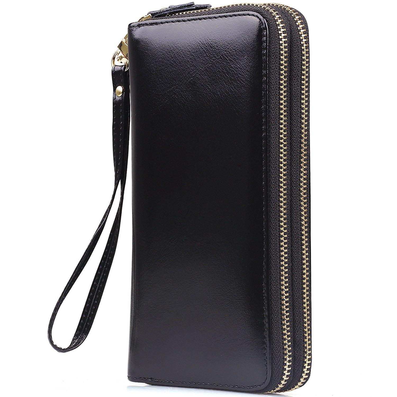 Jack&Chris Women's Large Capacity Leather Wallet Clutch with Wristlet Strap, WBXH050 (Black)