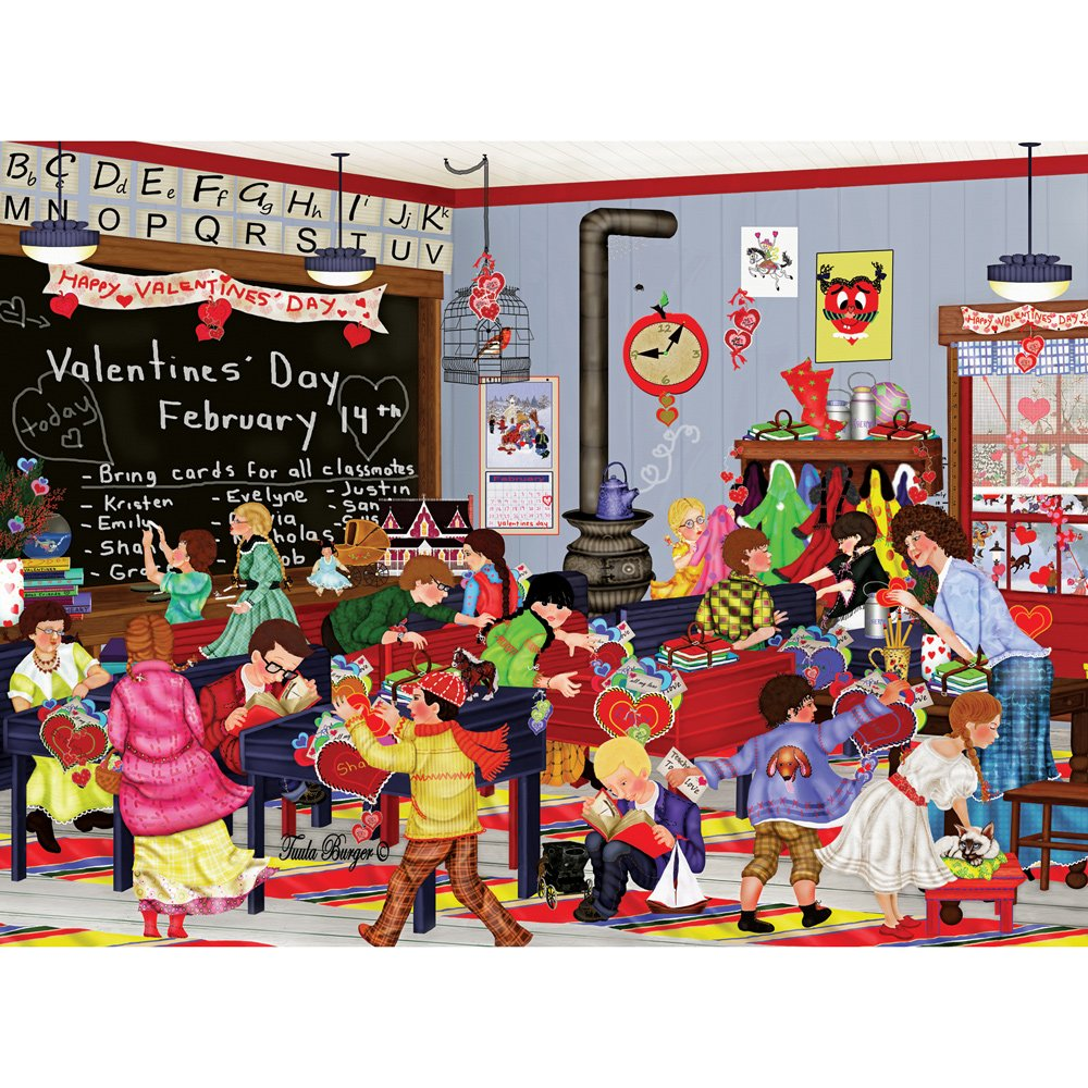 300 Piece - Valentine's Day - Classroom Valentines Jigsaw by Artist Tuula Burger