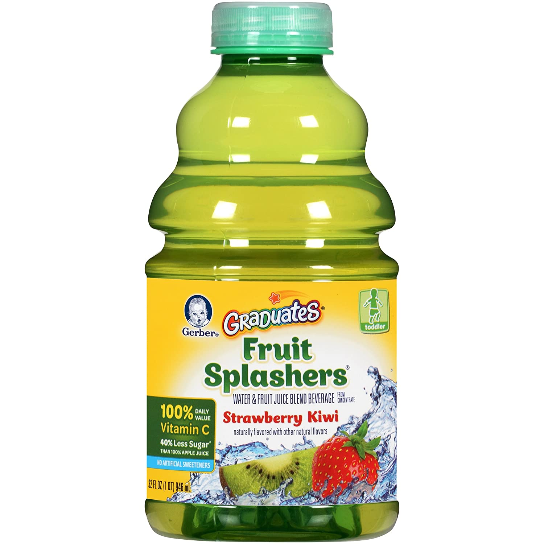 Gerber Graduates Fruit Splashers Juice, Strawberry Kiwi, 32-Ounce Bottles (Pack of 6)