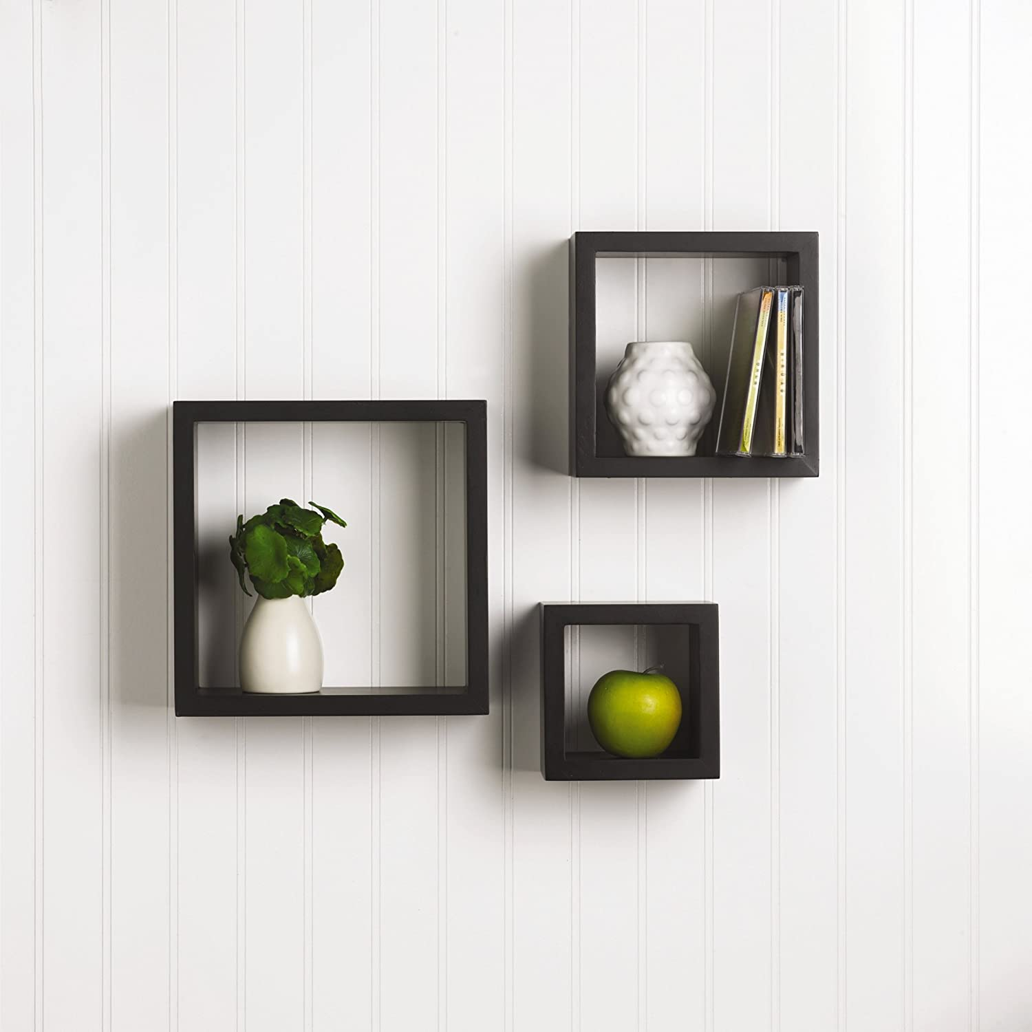 Design Wood Shelves For Walls amazon com melannco square wood shelves set of 3 black home kitchen