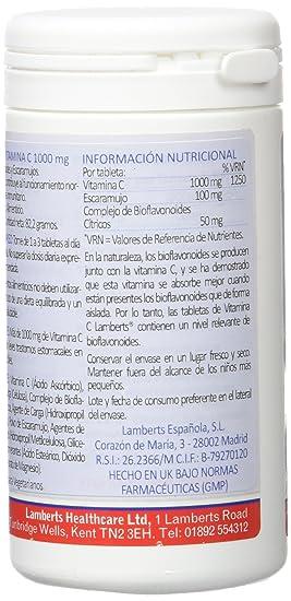 Lamberts Vitamina C 1000mg con Bioflavonoides y Escaramujo - 60 Tabletas: Amazon.es: Salud y cuidado personal