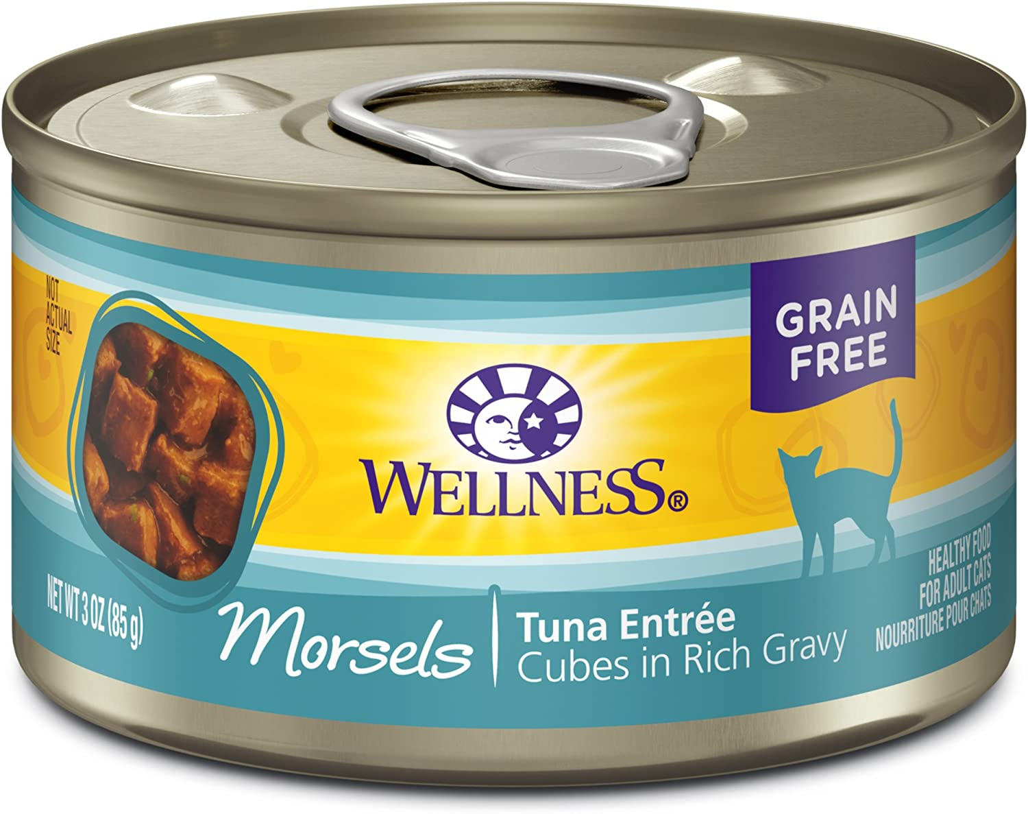 Wellness Complete Health Natural Grain Free Wet Canned Cat Food, Cubed Tuna Entree, 3-Ounce Can (Pack of 24)