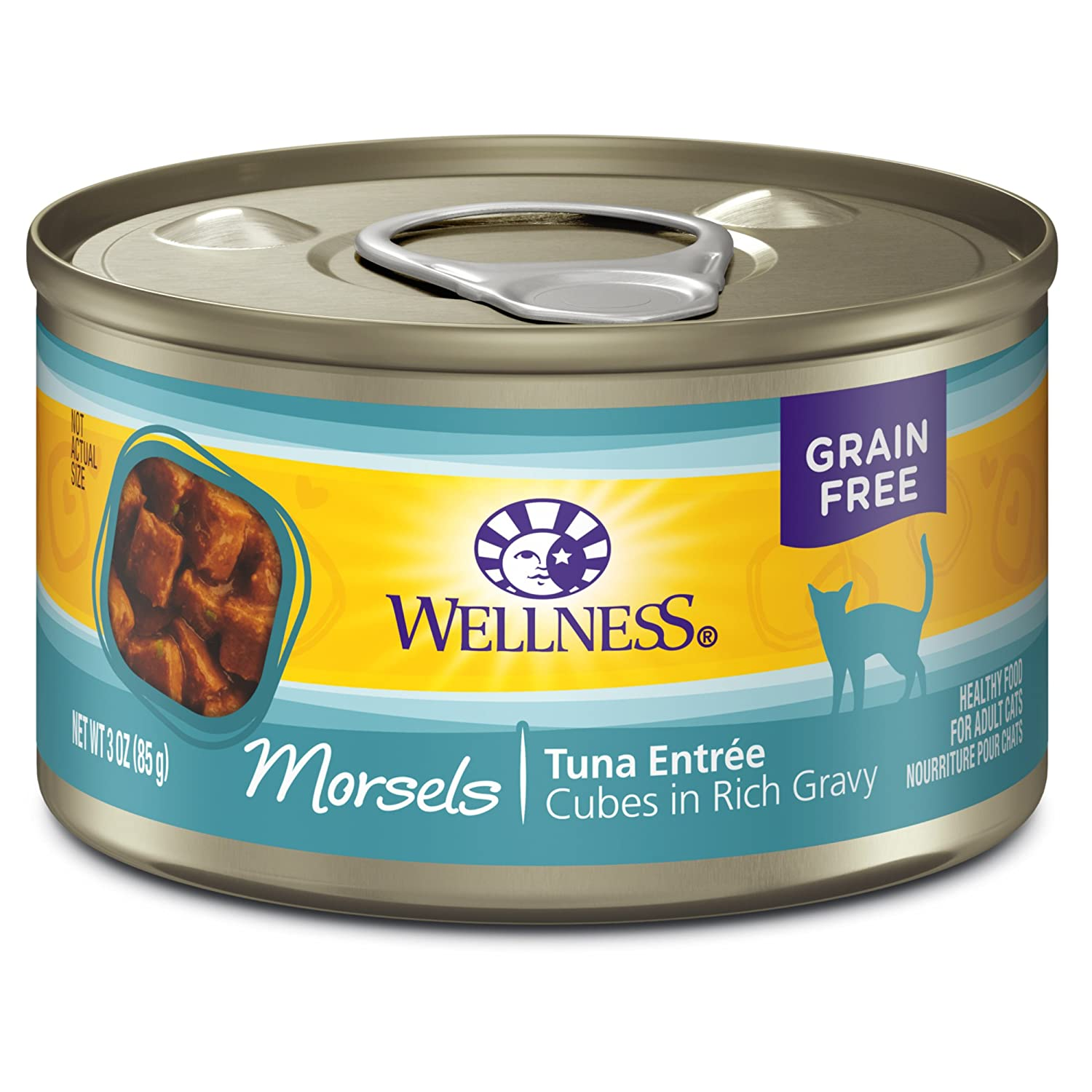 3-Ounce Can (Pack of 24) Wellness Natural Canned Grain Free Wet Cat Food, Cubed Tuna, 3-Ounce Can (Pack of 24)