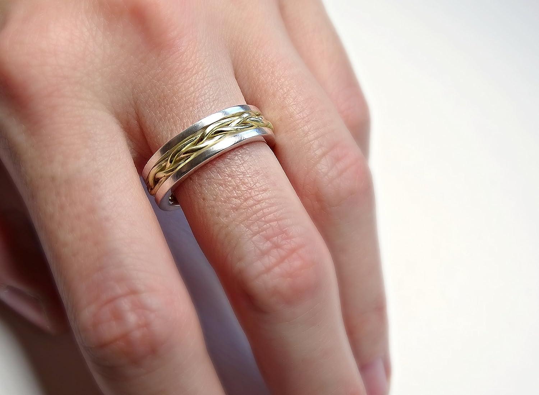 Amazon.com: celtic wedding band men, gold braided wedding ring ...