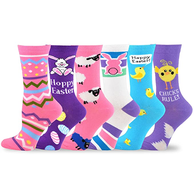 40c4235fdf65 TeeHee Women s Easter Day Fashion Crew Socks 6 Pair Pack (Easter ...