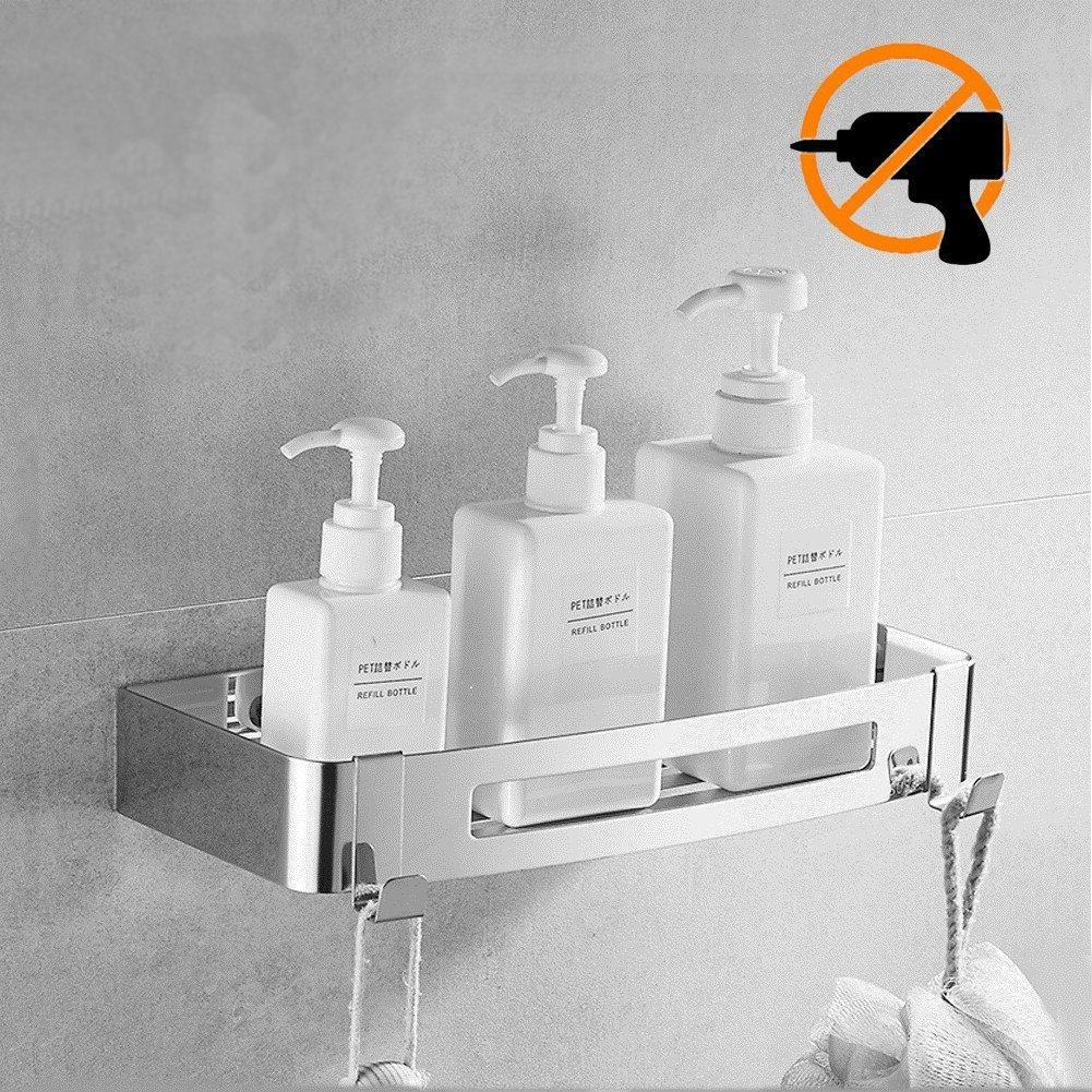 Kazeila Bathroom Shower Shelf Organizer-Shower Caddy Storage Basket - No Drilling with Self-adhesive Glue - 304 Stainless Steel with Polished Finish (Rectangle)