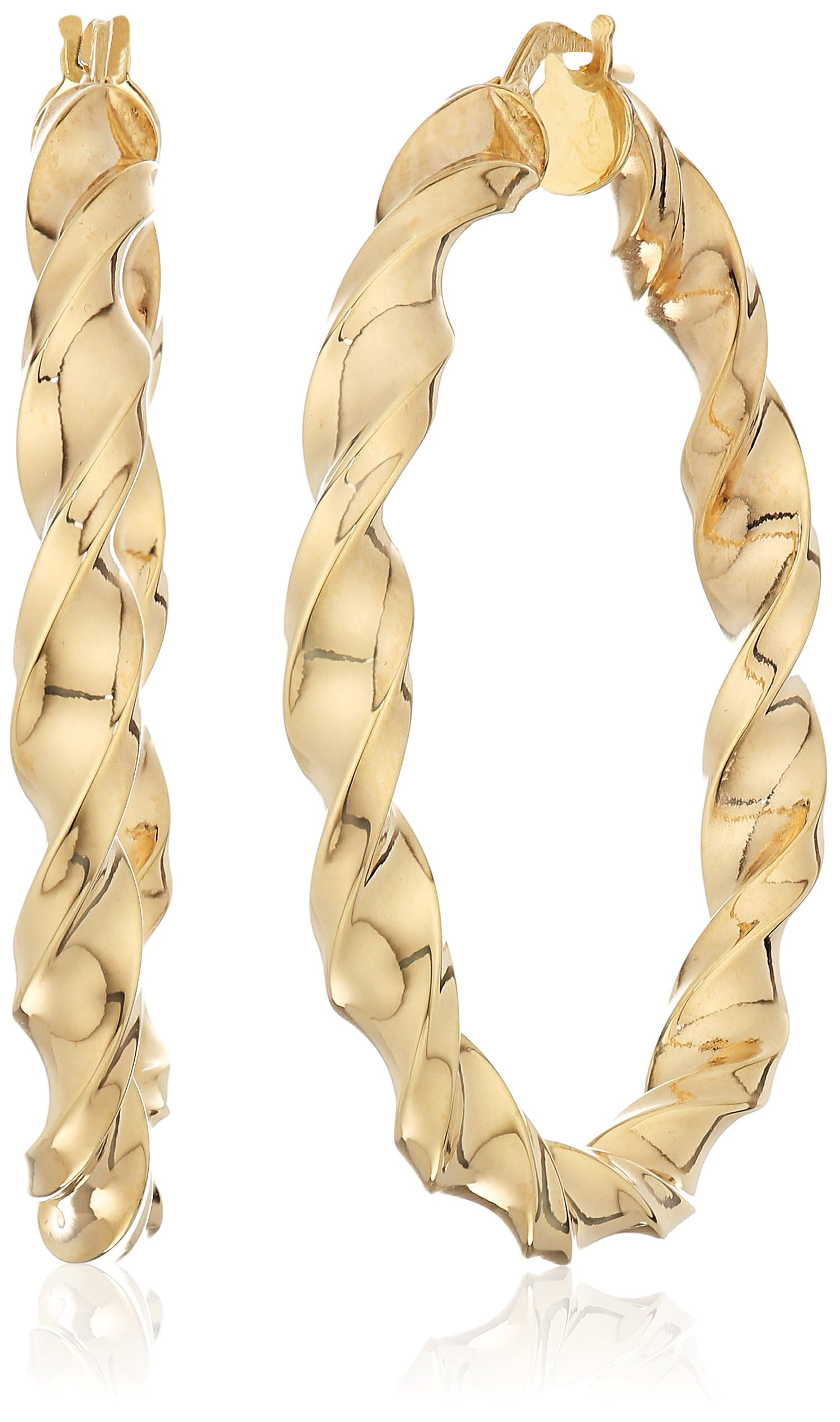 14k Yellow Gold 37mm X 3.9mm Twisted Click Top Hoop Earrings