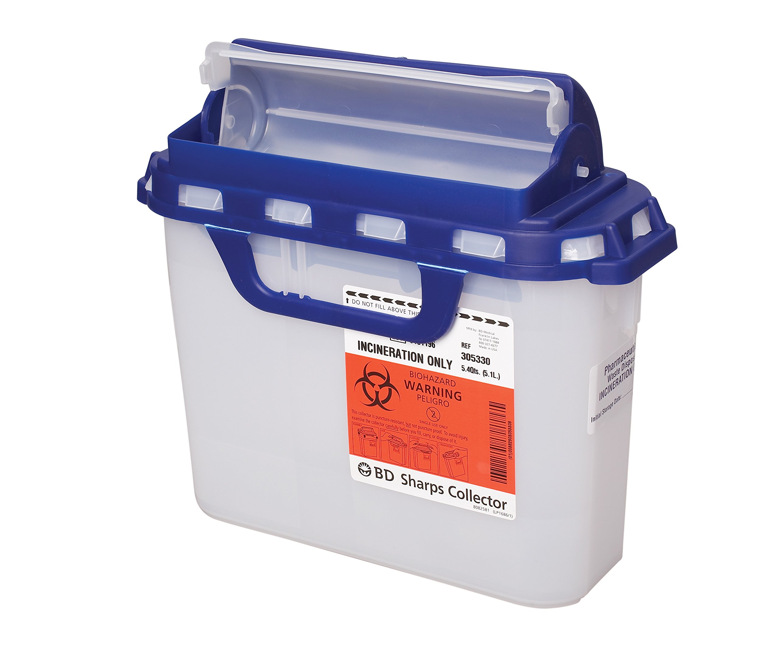 BD Medical Systems 305058 Recycleen Pharmacy Sharps Collector, 5.4 quart Capacity, 10.75'' x 12'' x 4.5'' Size (Pack of 20)