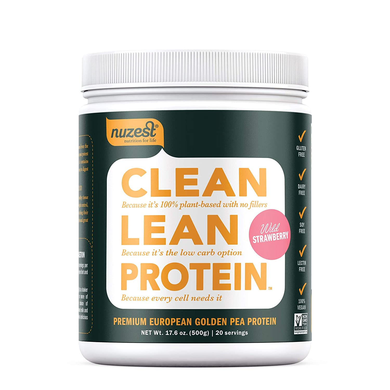 Nuzest Clean Lean Protein – Premium Vegan Protein Powder, Plant Protein Powder, European Golden Pea Protein, Dairy Free, Gluten Free, GMO Free, Naturally Sweetened, Wild Strawberry, 20 SRV, 17.6 oz