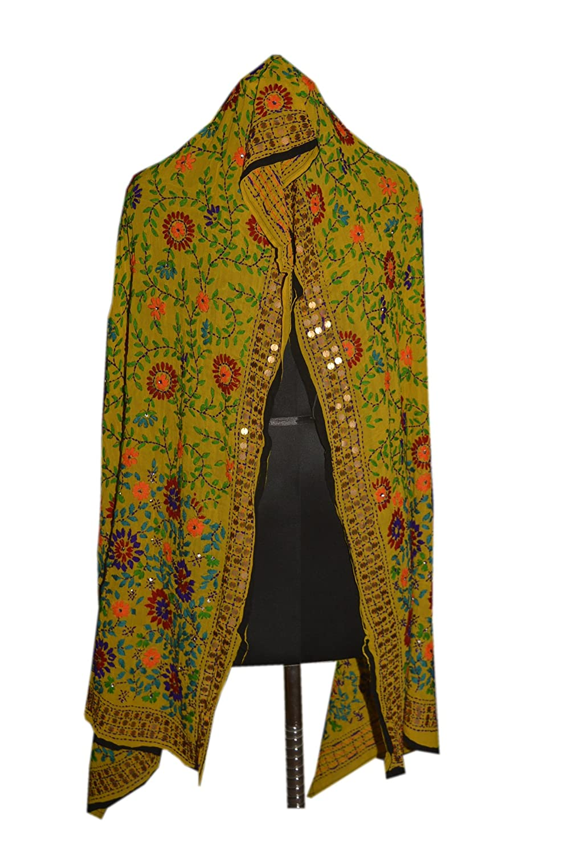 Tribal Asian Textiles Floral Long Phulkari Dupatta Kantha Scarf Stole Wrap 12