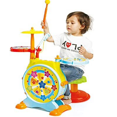 Prextex Kids' Electric Toy Drum Set for Kids Working Microphone Lights and Adjustable Sound Bass Drum Pedal Drum Sticks with Little Chair All Included: Toys & Games
