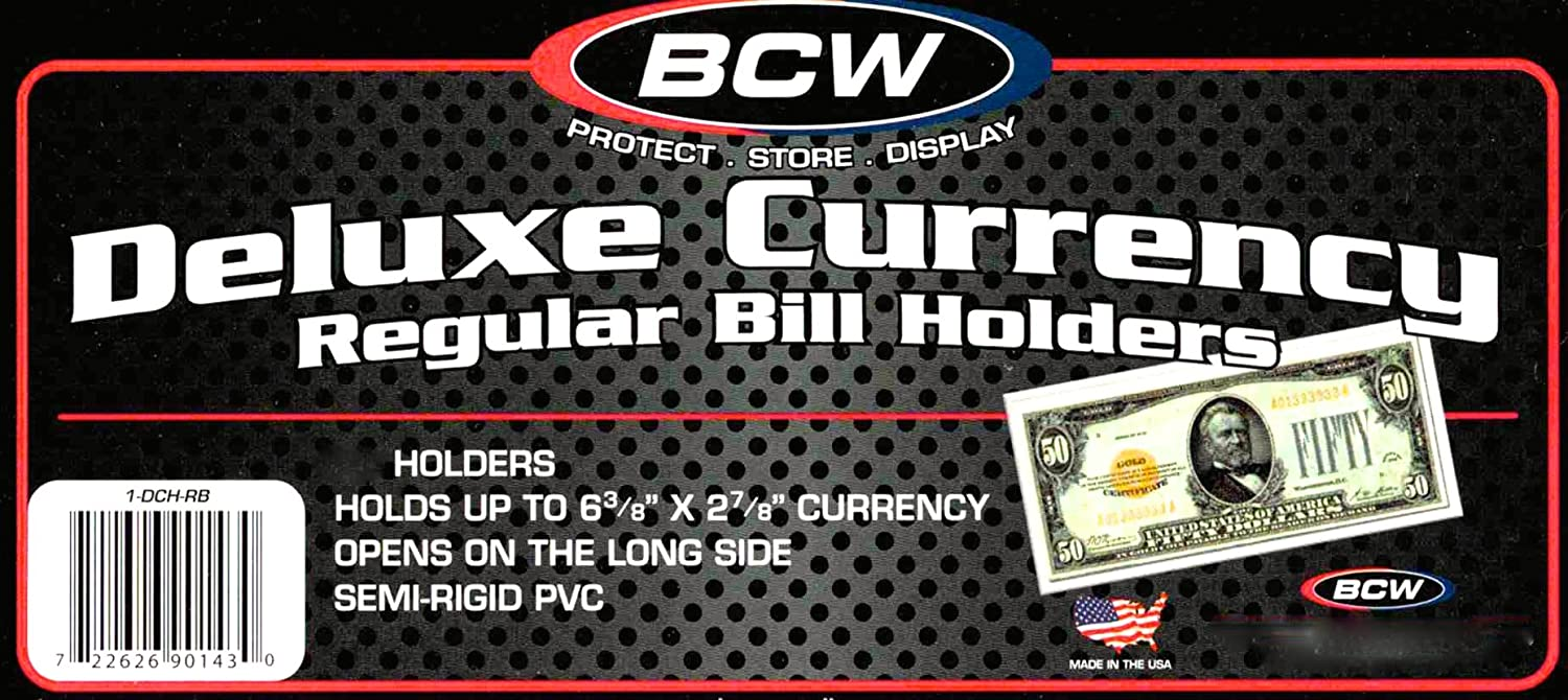 10 BCW Regular Bill Holders, Hard Clear Money Protectors