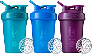 BlenderBottle Classic V1 Multipack Shaker Bottle, 20-Ounce, Teal and Plum and Cyan